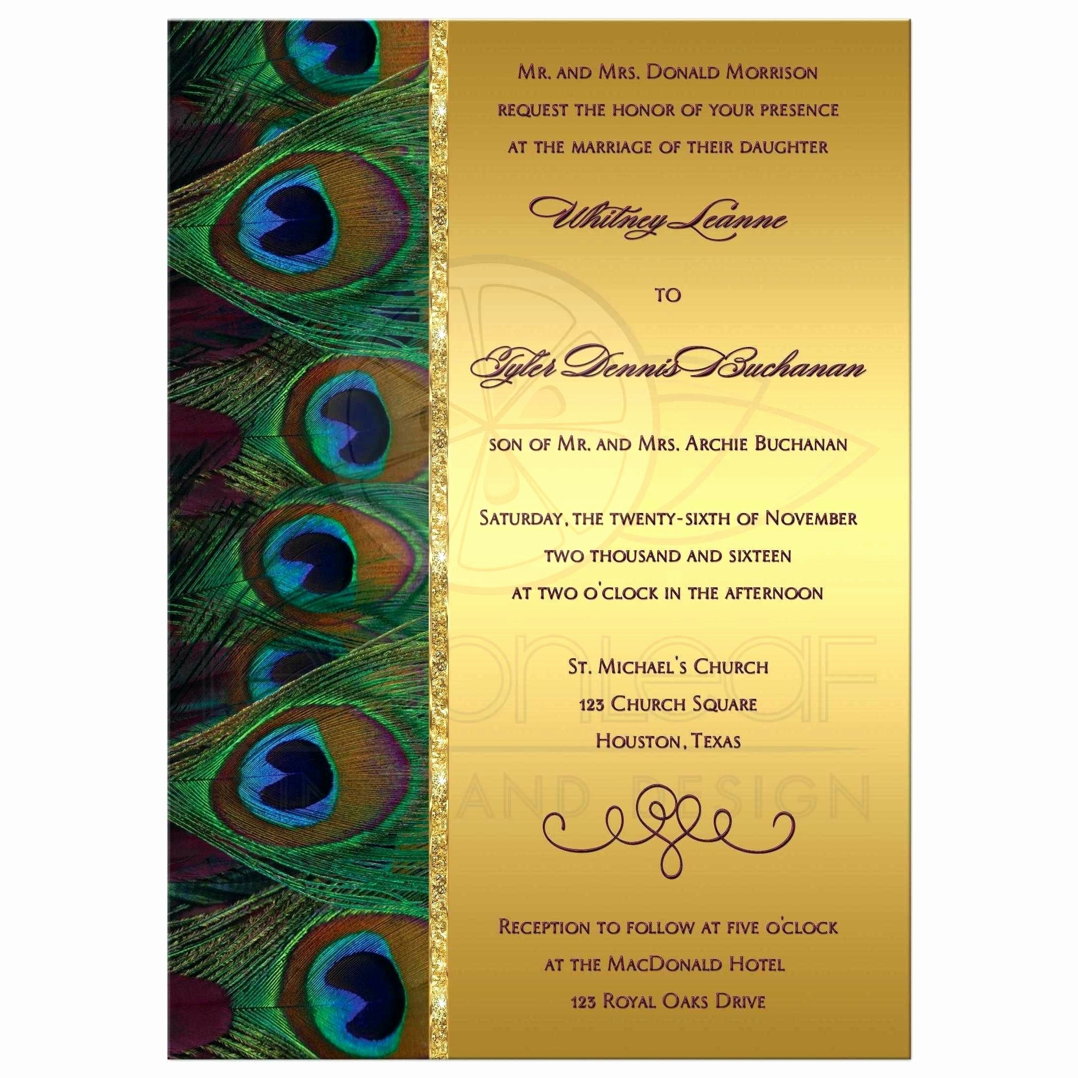 Peacock Wedding Invitations Template Inspirational Peacock Wedding Invitations Template