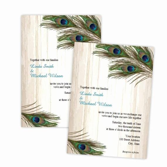 Peacock Wedding Invitations Template Inspirational Wedding Invitation Peacock Feathers On Wood Diy Printable
