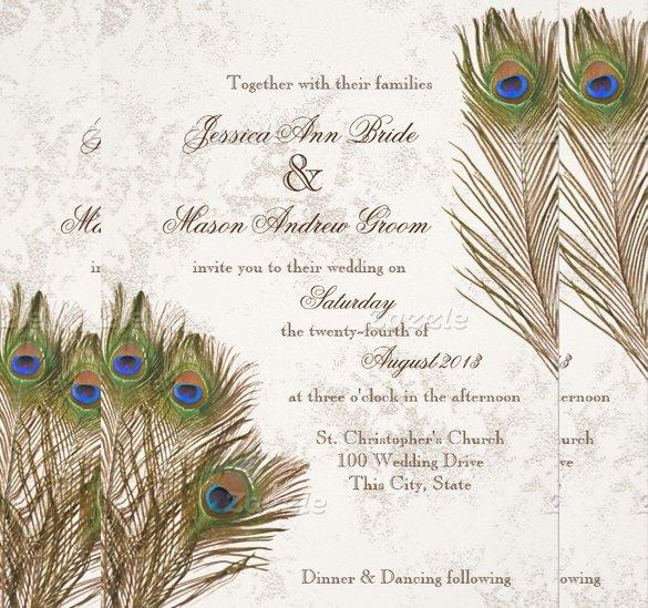 Peacock Wedding Invitations Template Luxury 13 Peacock Wedding Invitations Psd Jpg Indesign