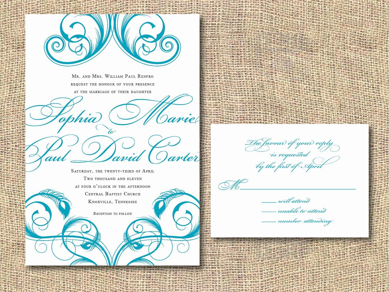 Peacock Wedding Invitations Template Luxury Printable Wedding Invitation Peacock by Iheartpaperandthread