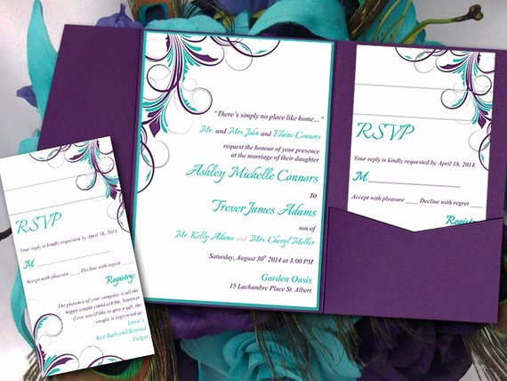 Peacock Wedding Invitations Template New Peacock Pocketfold Wedding Invitation Template Set Teal