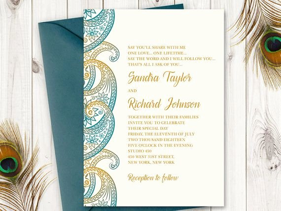 Peacock Wedding Invitations Template New Teal & Gold Paisley Wedding Invitation Printable Template
