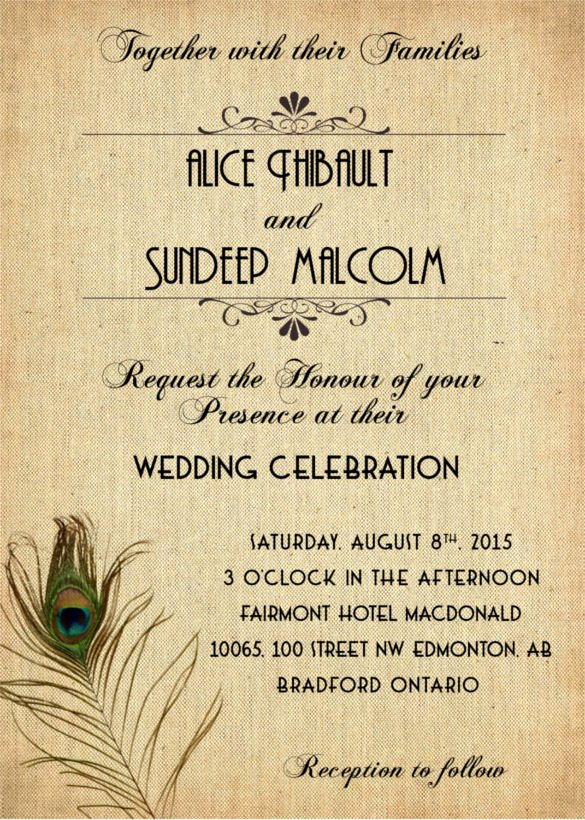 Peacock Wedding Invitations Template Unique 23 Peacock Wedding Invitation Templates – Free Sample