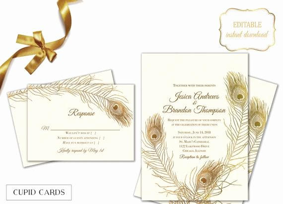 Peacock Wedding Invitations Template Unique Peacock Feather Wedding Invitation Templates Editable