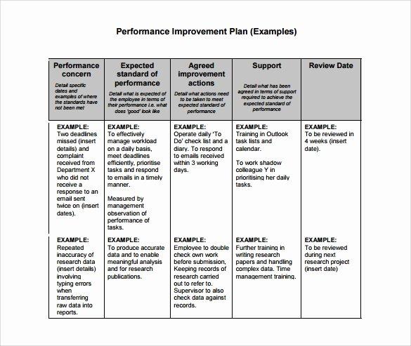 Performance Action Plan Template Unique Performance Improvement Plan Template 14 Download
