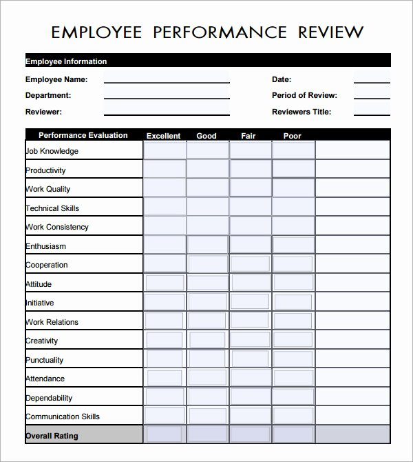Performance Appraisal form Template Awesome Employee Evaluation form 16 Download Free Documents In Pdf