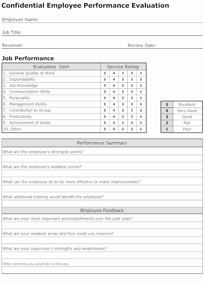 Performance Appraisal form Template Beautiful Employee Performance Evaluation form Template Connections