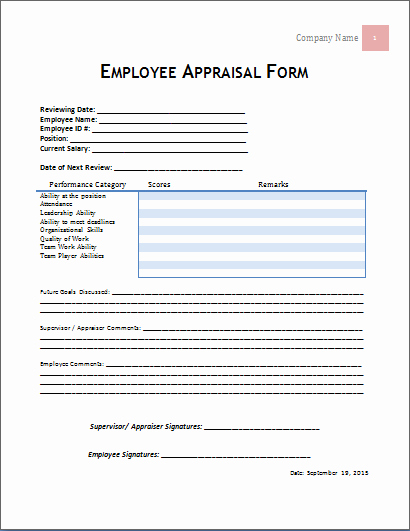 Performance Appraisal form Template Inspirational Ms Word Employee Appraisal form Template
