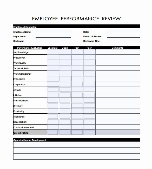 Performance Appraisal form Template Lovely 7 Employee Review Templates – Pdf Doc