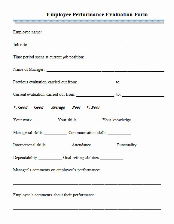 Performance Appraisal form Template Lovely Sample Employee Performance Appraisal form 5 Free