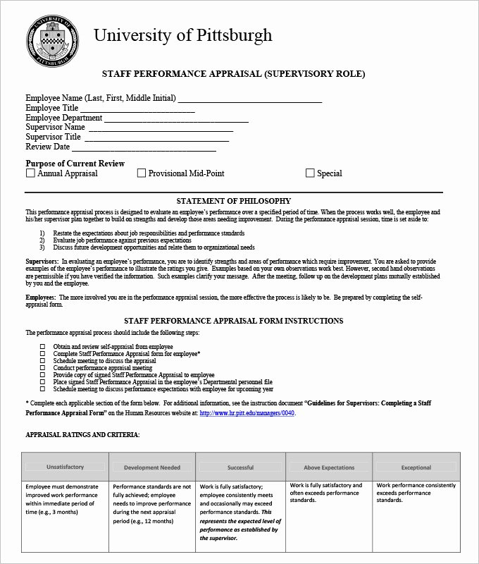 Performance Appraisal form Template New 13 Hr Appraisal forms Hr Templates