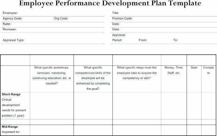 Performance Development Plan Template Unique Employee Improvement Examples – Ooojo