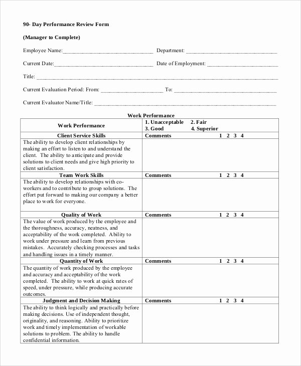 Performance Evaluation form Template Beautiful 8 Sample Performance Reviews