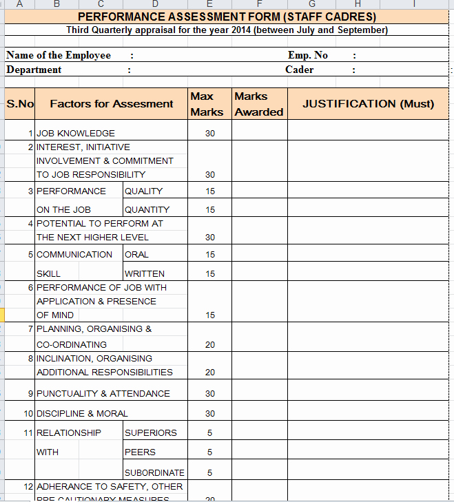 Performance Evaluation form Template Beautiful Quarterly Performance Appraisal form
