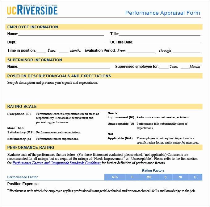 Performance Evaluation form Template Elegant 13 Sample Hr Appraisal forms Pdf Doc