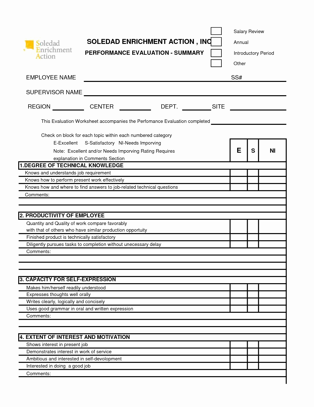 Performance Evaluation form Template Elegant Free 360 Performance Appraisal form Google Search