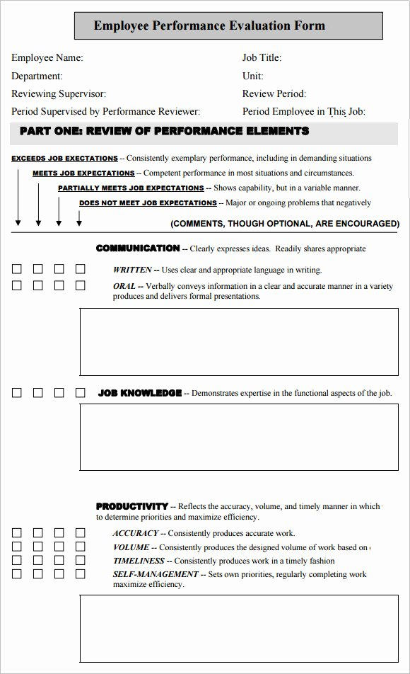 Performance Evaluation form Template Lovely Employee Performance Evaluation Templates 6 Free