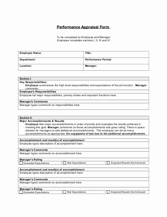 Performance Review form Template Fresh Performance Appraisal Template