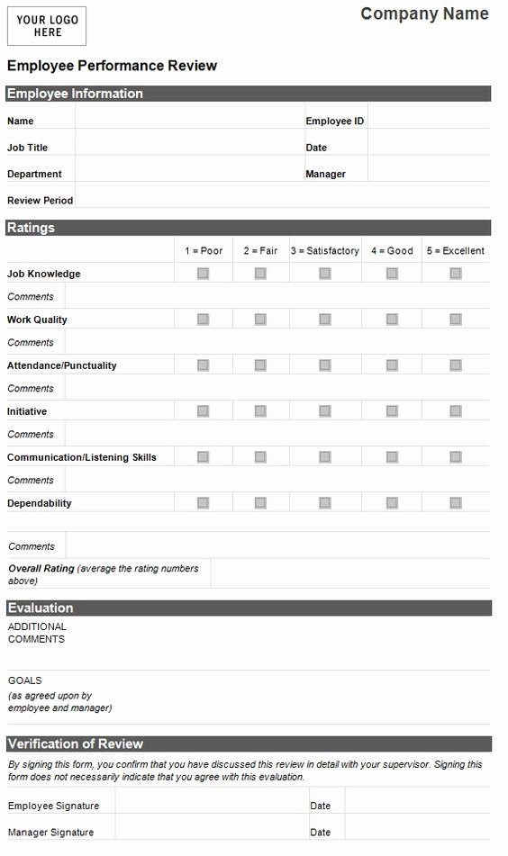 Performance Review form Template Inspirational Employee Evaluation Template