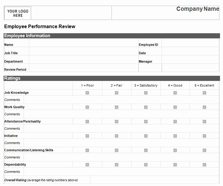 Performance Review form Template Lovely Employee Performance Review Template