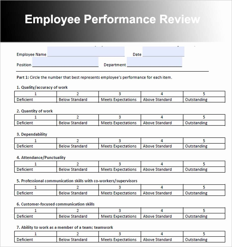 Performance Review form Template New Employee Review Template