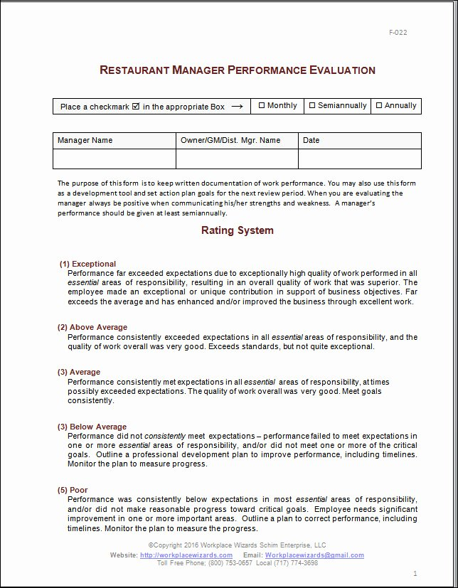 Performance Review Template for Managers Best Of Restaurant Manager Performance Evaluation form
