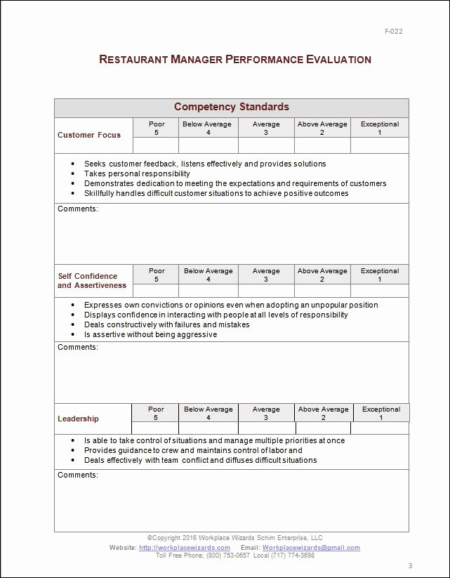 Performance Review Template for Managers Fresh Restaurant Manager Performance Evaluation form