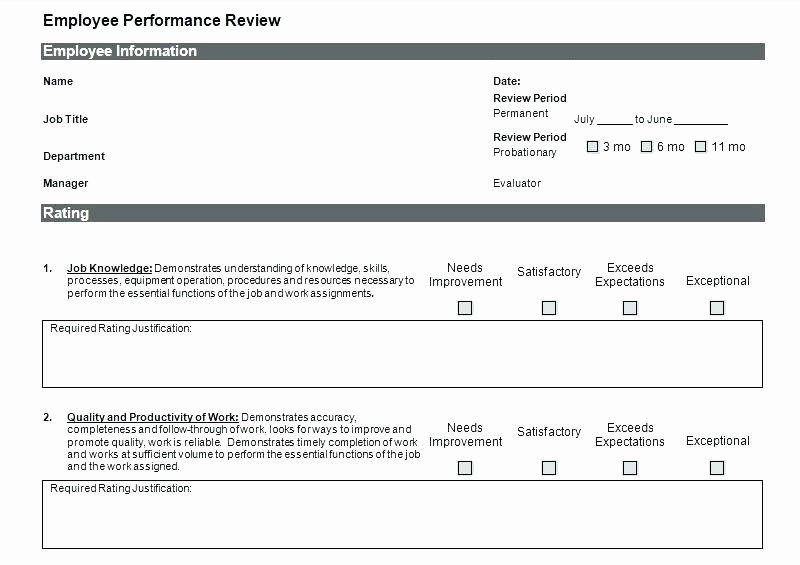 Performance Review Template for Managers Lovely Employee Review Template Excel Monthly Employee Review