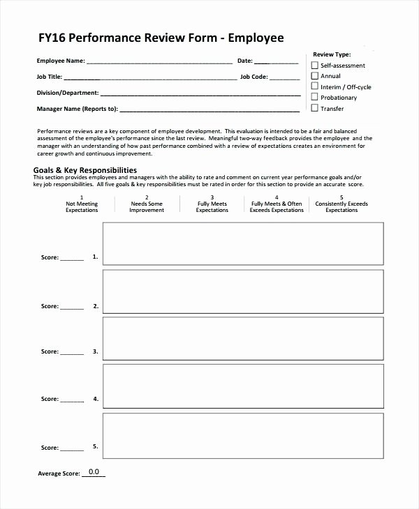 Performance Review Template for Managers New Employee Performance Review form Template Objectives
