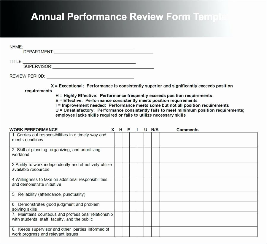 Performance Review Template for Managers New Non Profit Employee Performance Review Template Free