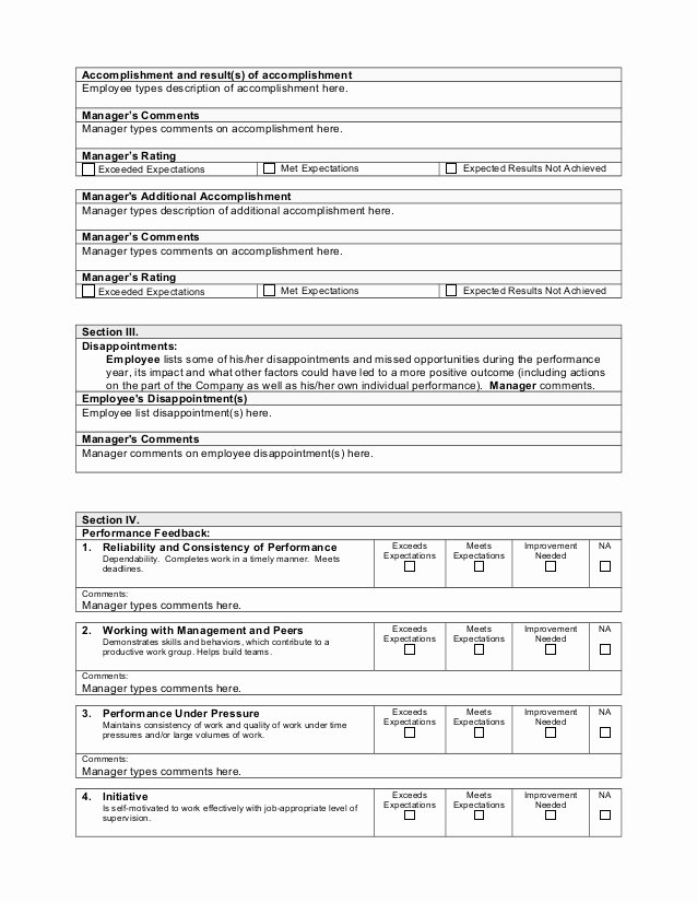 Performance Review Template for Managers New Performance Appraisal Template