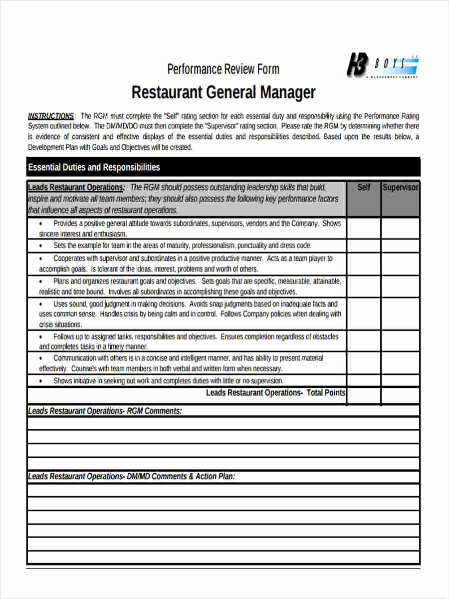 Performance Review Template for Managers Unique 23 Performance Review form Templates