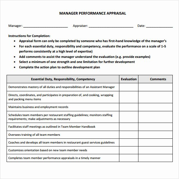 Performance Review Template for Managers Unique 3 Sample Manager Evaluation Templates to Download for Free