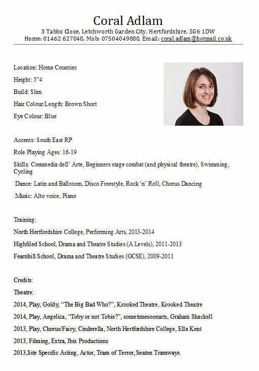 Performing Arts Resume Template Awesome Coral Adlam Performing Arts Nhc Business May 2014