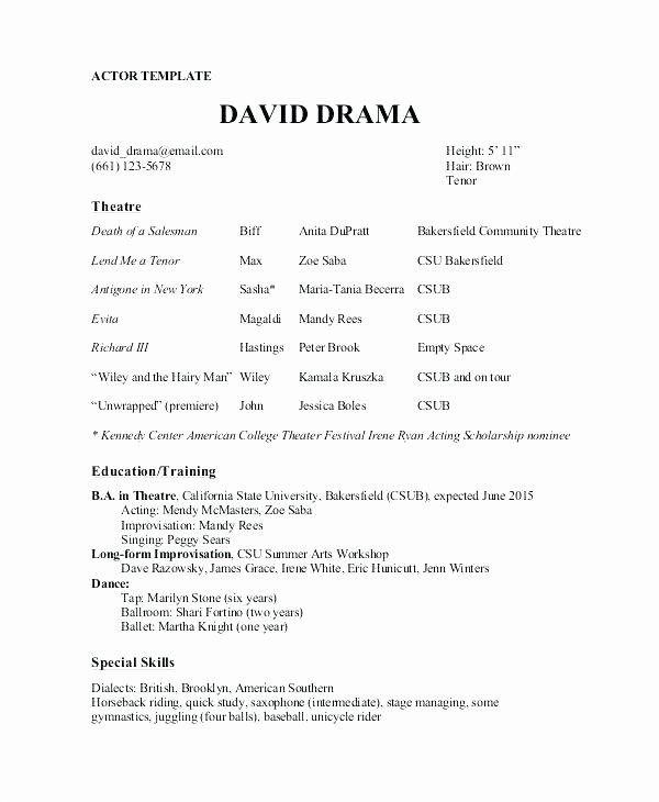 Performing Arts Resume Template Beautiful Performing Arts Resume Template – Wordsmithservices