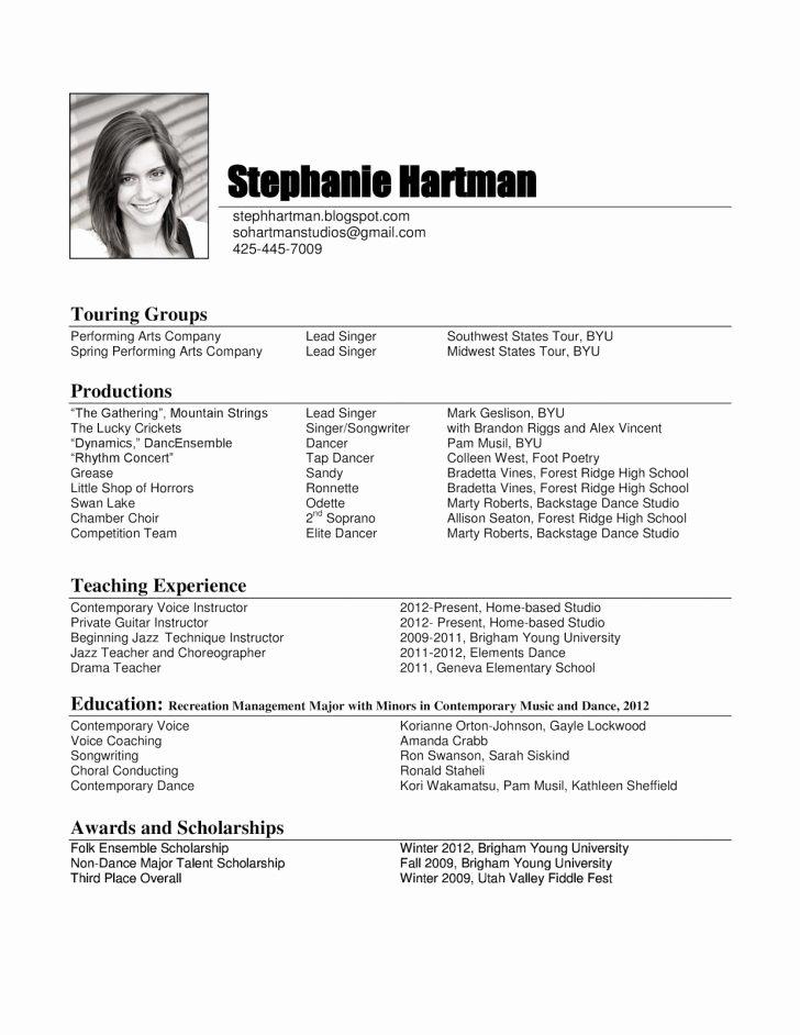 Performing Arts Resume Template Elegant Resume Template 51 Excelent Free Musician Resume Template