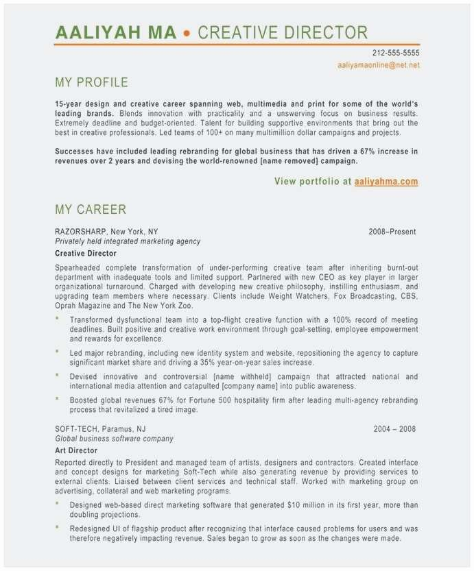 Performing Arts Resume Template Fresh 25 New Creative Director Resume Sample
