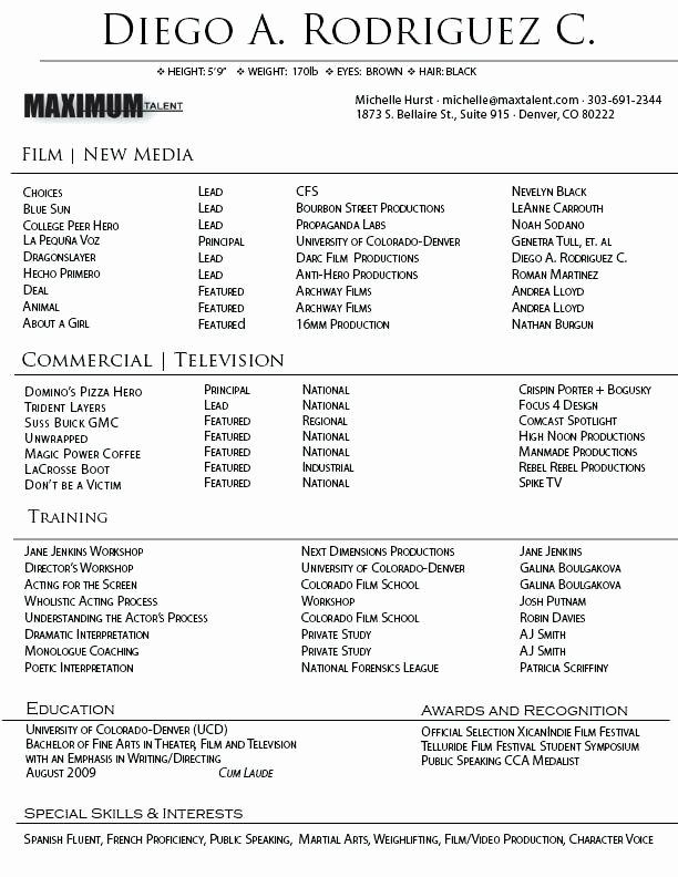 Performing Arts Resume Template Fresh Performing Arts Cv Template Resume New Best Free