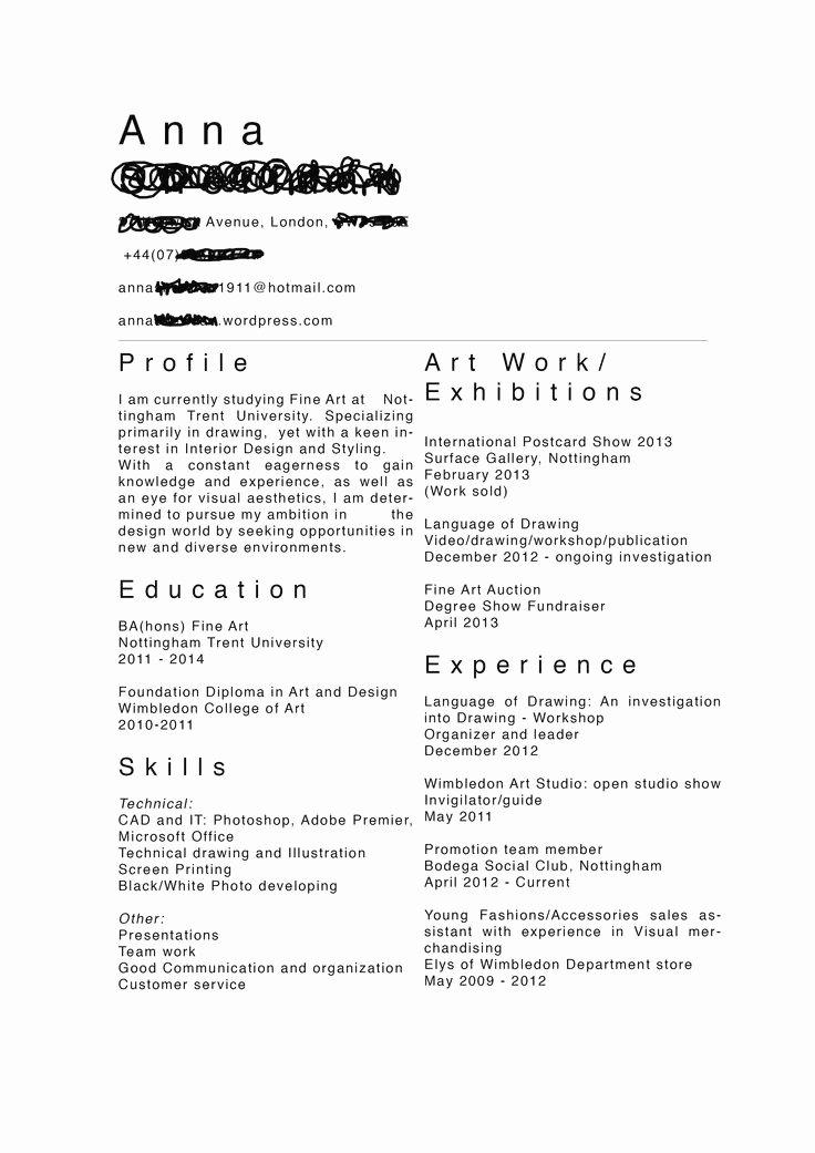 Performing Arts Resume Template Fresh Performing Arts Resume