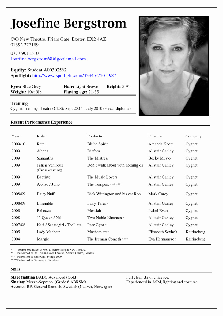 Performing Arts Resume Template Inspirational Free Acting Resume Template Downloads Tag Professional