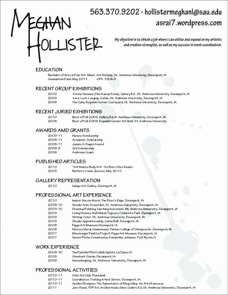 Performing Arts Resume Template Inspirational Performing Arts Resume Art Curator Resume Examples Artist