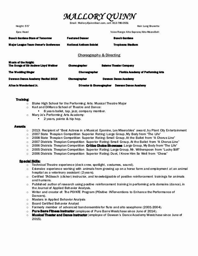Performing Arts Resume Template New Mq Performing Arts Resume Edited May15