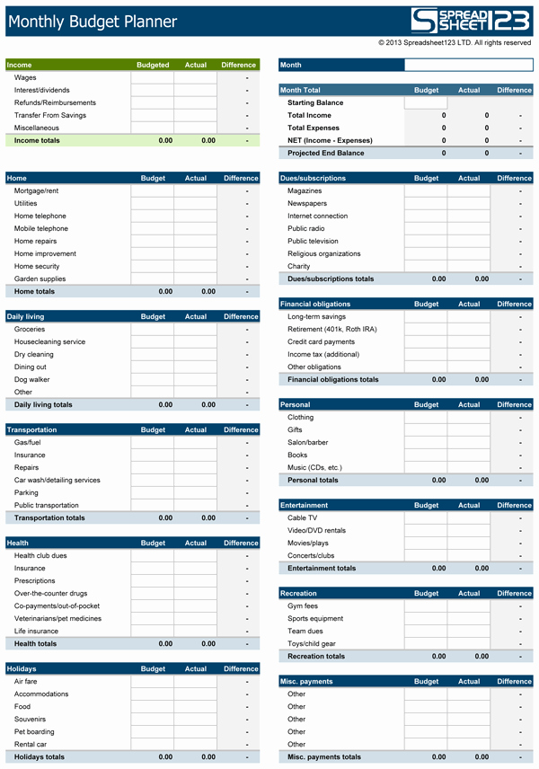 Personal Budget Planning Template Fresh Monthly Bud Planner