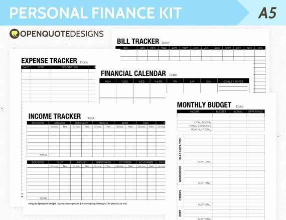 Personal Budget Planning Template Luxury A5 Filofax Finance Printable Personal Finance Kit Monthly