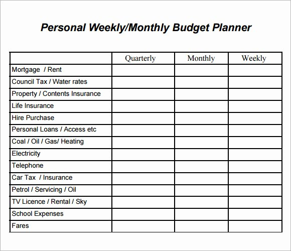 Personal Budget Planning Template New 8 Weekly Bud Samples – Pdf Word
