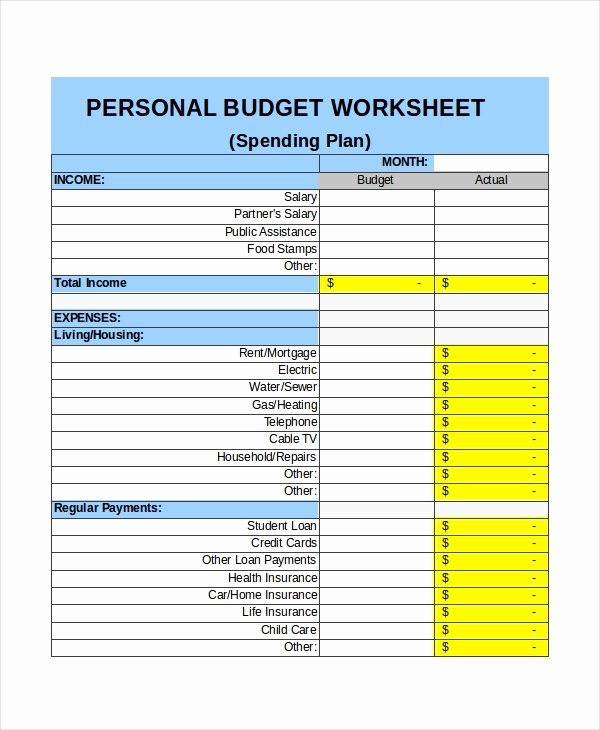 Personal Budget Planning Template Unique 21 Excel Monthly Bud Templates