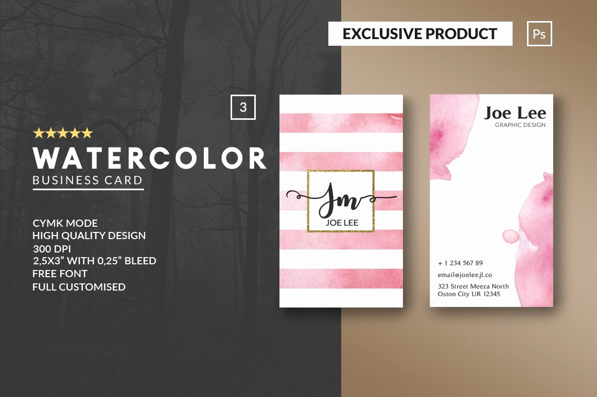Personal Business Card Template Beautiful Personal Watercolor Business Card Business Card