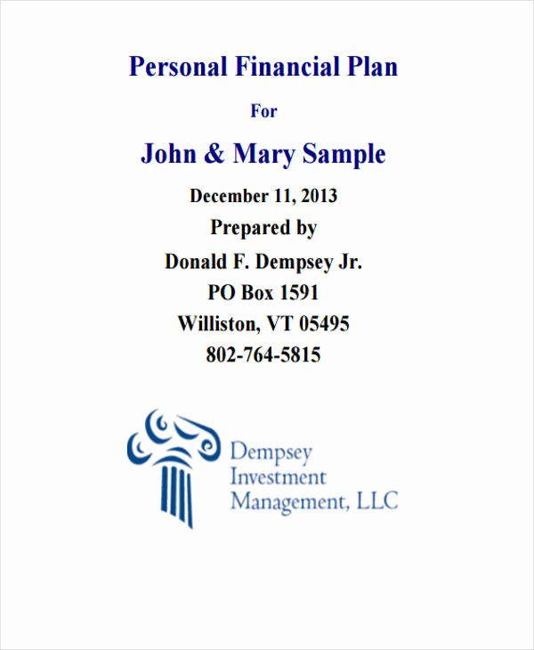 Personal Financial Plan Template Best Of 8 Personal Plan Samples & Templates