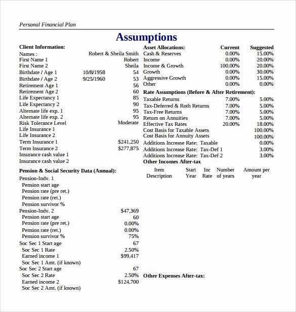 Personal Financial Plan Template Elegant 10 Sample Financial Plans
