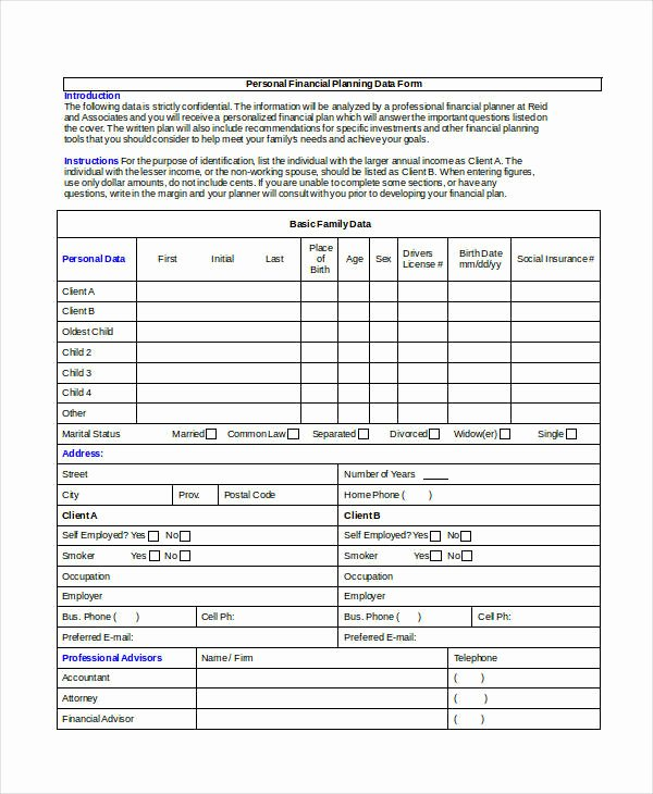 Personal Financial Plan Template New 35 Sample Plan Templates